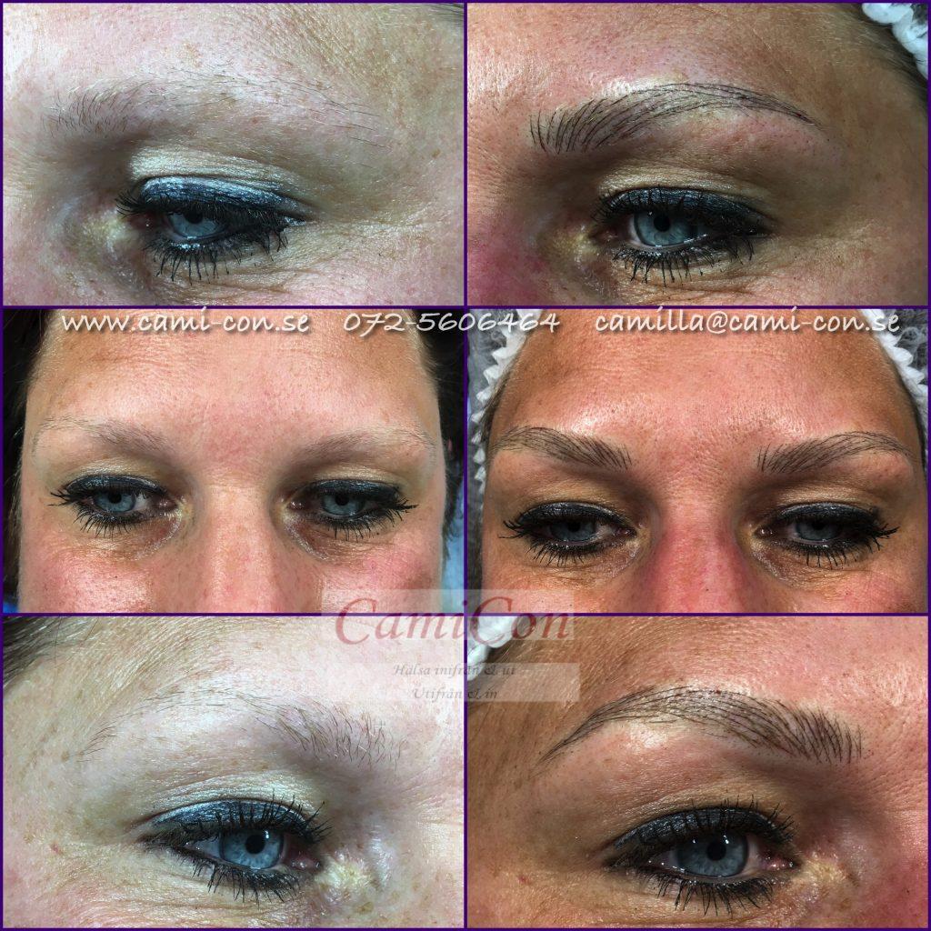 en mamma gör tatuering på ögonbrynen, supersnyggt och lättskött